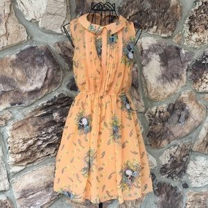 Fire LA skulls and flowers sleeveless dress